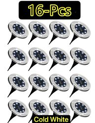 1-16 Pcs Led Solar Power Flat Buried Light In-ground Lamp Outdoor Path Garden