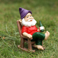 5.9 Gnome Holding Winebottle In A Rocking Chair Garden Statue Outdoor Ornament