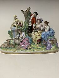 Large Antique Scheibe-alsbach Porcelain Figural Group Germany