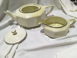 Vintage Steubenville China Luster Octagon Teapot Lid And Creamer Marked 3-25