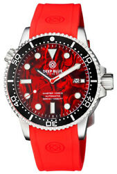 Deep Blue Master 1000 44mm Automatic Menand039s Diver Watch Red Abalone Dial Silicone