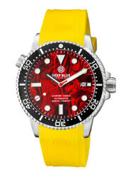 Deep Blue Master 1000 44mm Automatic Menand039s Diver Watch Red Abalone Dial Yellow