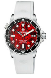Deep Blue Master 1000 44mm Automatic Menand039s Diver Watch Red Abalone Dial White