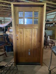 """Large Never Used Exterior Wood Main Door Casing 82 1/2"""" Tall And 40"""" With Window"""
