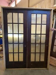 Vintage Double Wood French Library Doors W/ Hardware And Frame Casing Salvage