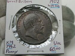 Unc 1902 High Sea Variety One Penny Great Britain Edward Vii Km794.2. 39