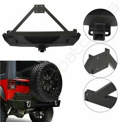 Rear Bumper With Tire Carrier And D-ring For Jeep Wrangler 07-18 Jk Guard Winch