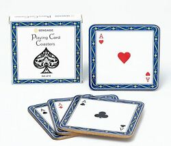 2x 4pc Set Poker Playing Cards Aces Suits Drink Coasters Player Men Perfectgift