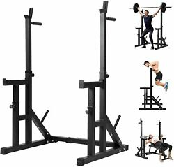 Adjustable Squat Rack Bench Weight Lifting Press Barbell Stand Home Gym Fitness