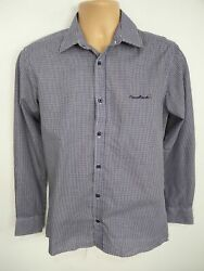 Mens Pierre Cardin Blue White Checked Long Sleeved Shirt Top Button Up Size Xs