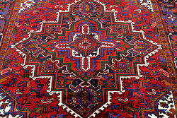 9x7 1940s Exquisite Elegant Mint Antique Hand Knotted Herizz Geometric Wool Rug