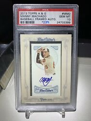 2013 Topps Allen And Ginter's Framed Blue Ink Auto Manny Machado Psa 10rare Padres