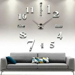 DIY Wall Clock Modern Large 3D Wall Clock Mirror Stickers Home Office Silver