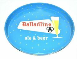 New 1961 Vintage Antique Ballantine Ale And Beer Blue Metal Tin Serving Tray Plate