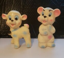 Vintage Rare 50's 60's Bear And Lamb Rubber Squeeze Toy Made In Italy With Sound.