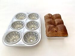 Vintage Aluminum Child Kitchen Toy Cookware - Mirro Mold And Bun Pan With Buns