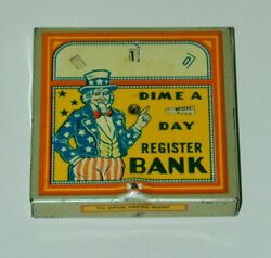 Uncle Sam Independence Day Lithographed Tin Daily Dime Register Bank Circa 1930