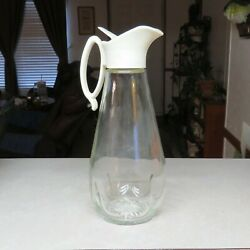 Vintage Log Cabin 9 Syrup Dispenser Clear Glass Pitcher With Wht Plastic Spout