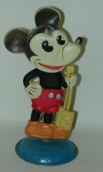 Mickey Mouse Celluloid Nodder Rare Reduced Size 6 With 2 Stickers Japan 1930s