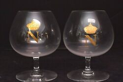 2 French Napoleon Crown Cognac Baccarat Crystal Brandy Snifter Balloon Glasses