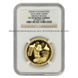 Niue 2014 Gold 200 Mickey Mouse Ngc Pf70ucam Ultra Cameo Proof Coin Disney