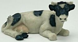 Vintage Lying Down Resting Dairy Cow Figurine Castagna Italy 1993 Reclining