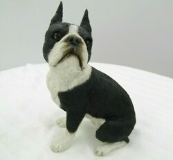 Boston Terrier Figurine Hand Painted Collectible Statue 5quot; x 4quot; vintage