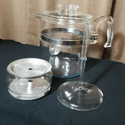 Vintage Pyrex Glass Flameware Coffee Percolator Stovetop 7759 9-cup Complete