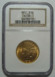 = 1912 Au58 Ngc 10 Indian Gold Piece, Certified, Low Mintage 405k, Free Ship