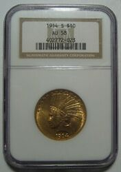 = 1914-s Au58 Ngc 10 Indian Gold Piece Certified Low Mintage 208k Free Ship