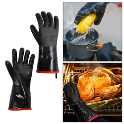 Neoprene Bbq Grill Gloves Heat Resistant Insulated Barbecue Gloves Black