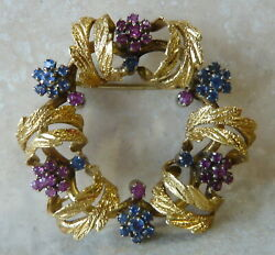 Vintage Italian 18k Yellow Gold Sapphire And Ruby Wreath Brooch