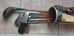 6 Antique Vintage Hickory Wood Shaft Golf Clubs And Lowe And Campbell Stove Pipe Bag