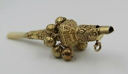 1821 English Sterling Silver Gilt Whistle And Bells Infant Baby Rattle Mop Teether