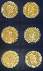 American Mint Proof Gold 6 Coin Set- 1795-1929 Historical Gold Eagle.