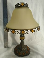 Vintage Partylite Tall Metal Candle Holder Lamp W/frosted Amber Globe
