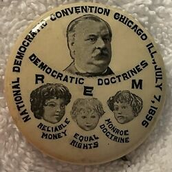 """Extremely Rare 1896 Grover Cleveland Presidential Hopeful 1 1/4"""" Button-mint"""