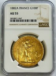 1882 A Gold France 100 Francs Standing Genius Coin Ngc About Uncirculated 55