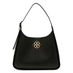 NWT TORY BURCH Miller Hobo Shoulder Classic Leather Gold Black 79324 FREE SHP $448.00