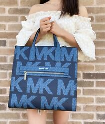 Michael Kors Kenly Large North South Tote Graphic Logo MK Crossbody Blue $139.00