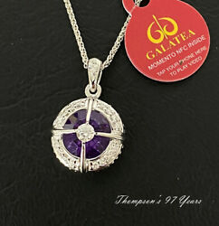 Galatea Momento 14ktw Gold Diamond And Amethyst Pendent New In Box Ml1-am