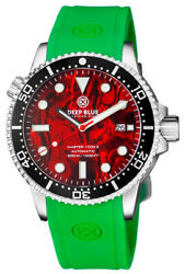 Deep Blue Master 1000 44mm Automatic Menand039s Diver Watch Red Abalone Dial Green