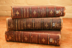 Substantial Set Inconographic Encyclopedia Antique Leather Spine Victorian Books