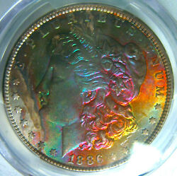 1886 Rainbow Toned Morgan Silver Dollarpcgs Ms65 Gem Obverse Colorful Toning