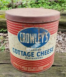 Vintage Crowley Binghamton Ny Advertising Tin Can Dairy Milk Cottage Cheese 10lb