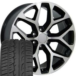 22 In Black Machined 5668 Rims And 285/45 Tires Fit Gmc Sierra Yukon 22x9