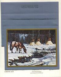 Vintage Horses Mother Colt Stream Native American Tee Pees Snow Greeting Card
