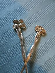 Two Demitasse Spoons Floral 1885 Aesthetic Sterling Silver Mono Spoon