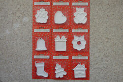 LOT 9 Christmas Holiday Ceramic Ornaments Decorate Paint Photo Personalize Craft