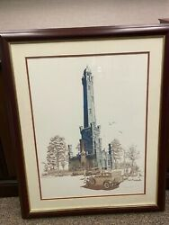 George Becker Jazz Age Chicago Water Tower- Framed, Matted, And Signed.